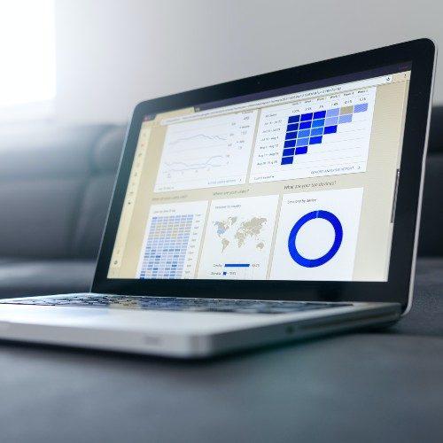 Laptop showing data.