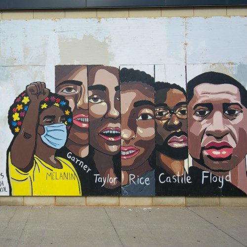 Mural depicting African-Americans killed by Police. From left to right: Eric Garner, Breonna Taylor, Tamir Rice, Philando Castile, and George Floyd.