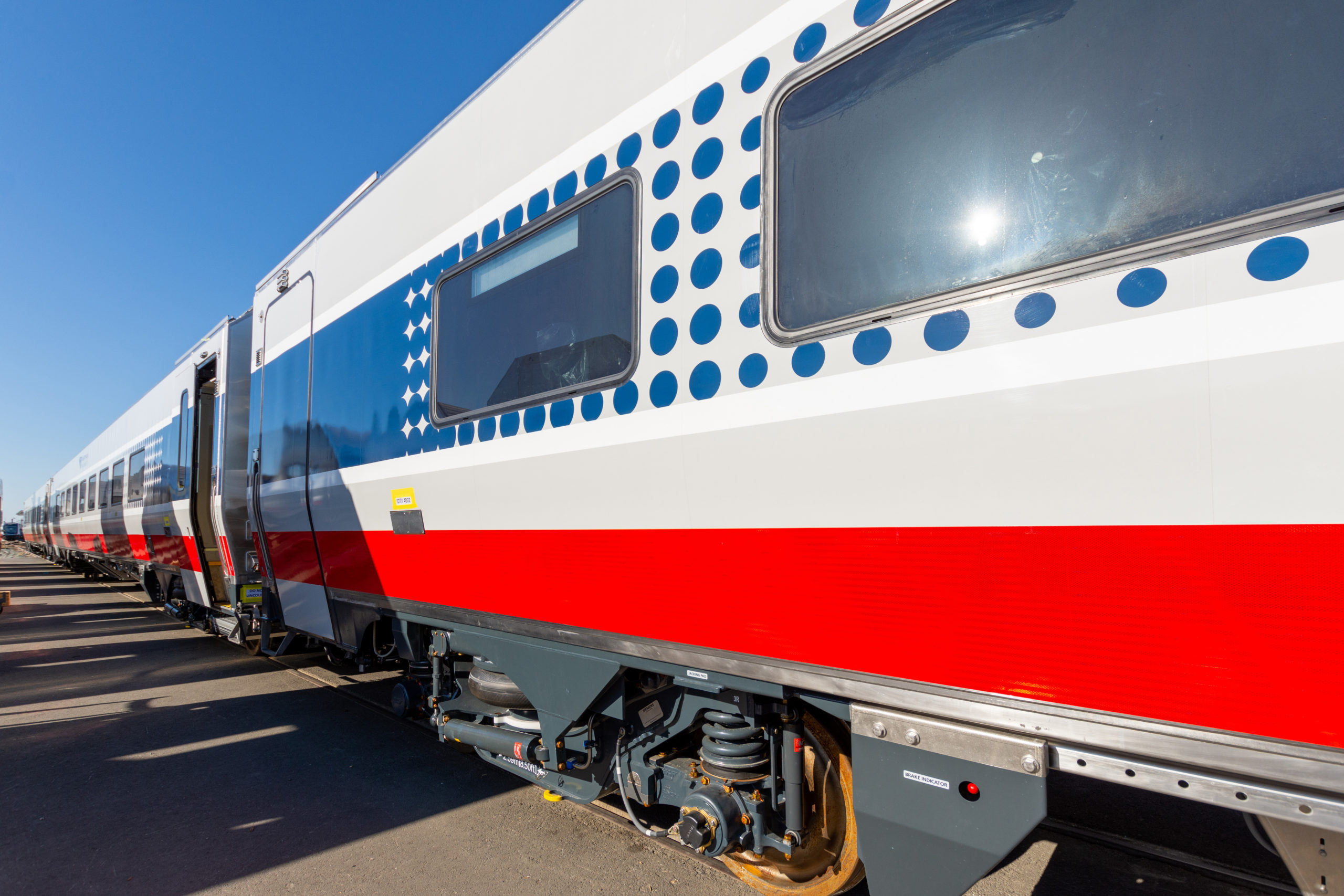 "Exterior view of new ""Amtrak Midwest"" passenger car"