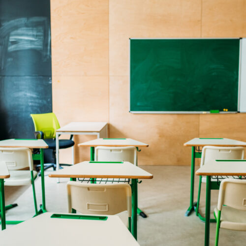 Classroom with desks.