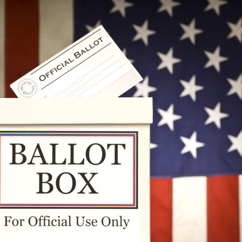 Official ballot entering a ballot box saying for official use only.