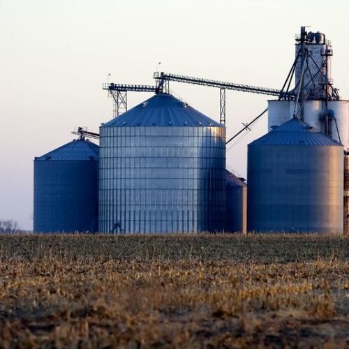 Grain silos.