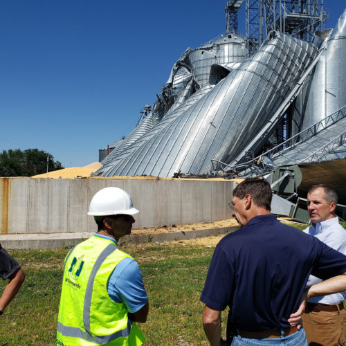 Photo of grain silo that collapsed due to August 2020's derecho windstorm.