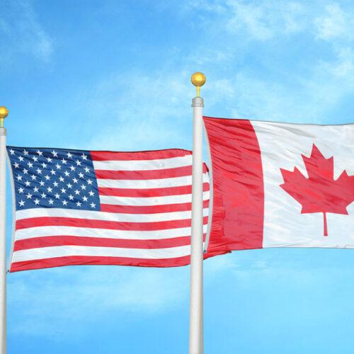 U.S. and Canada flag poles.