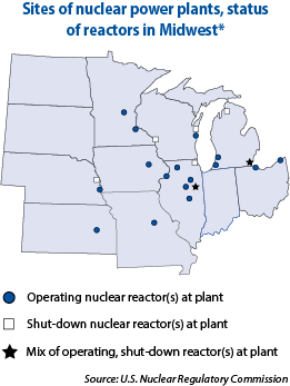 Map showing sites of nuclear power plants and the status of the reactors in Midwest.