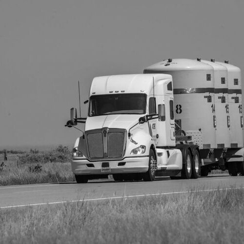 Picture of a heavy-haul truck radioactive material shipment on its way to the Waste Isolation Pilot Plant in New Mexico.