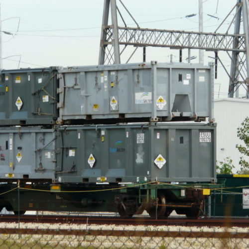 Train shipment of radioactive waste leaving Zion Nuclear Power Plant.