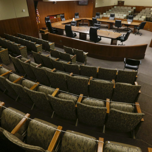 picture of empty legislative committee room in Minnesota