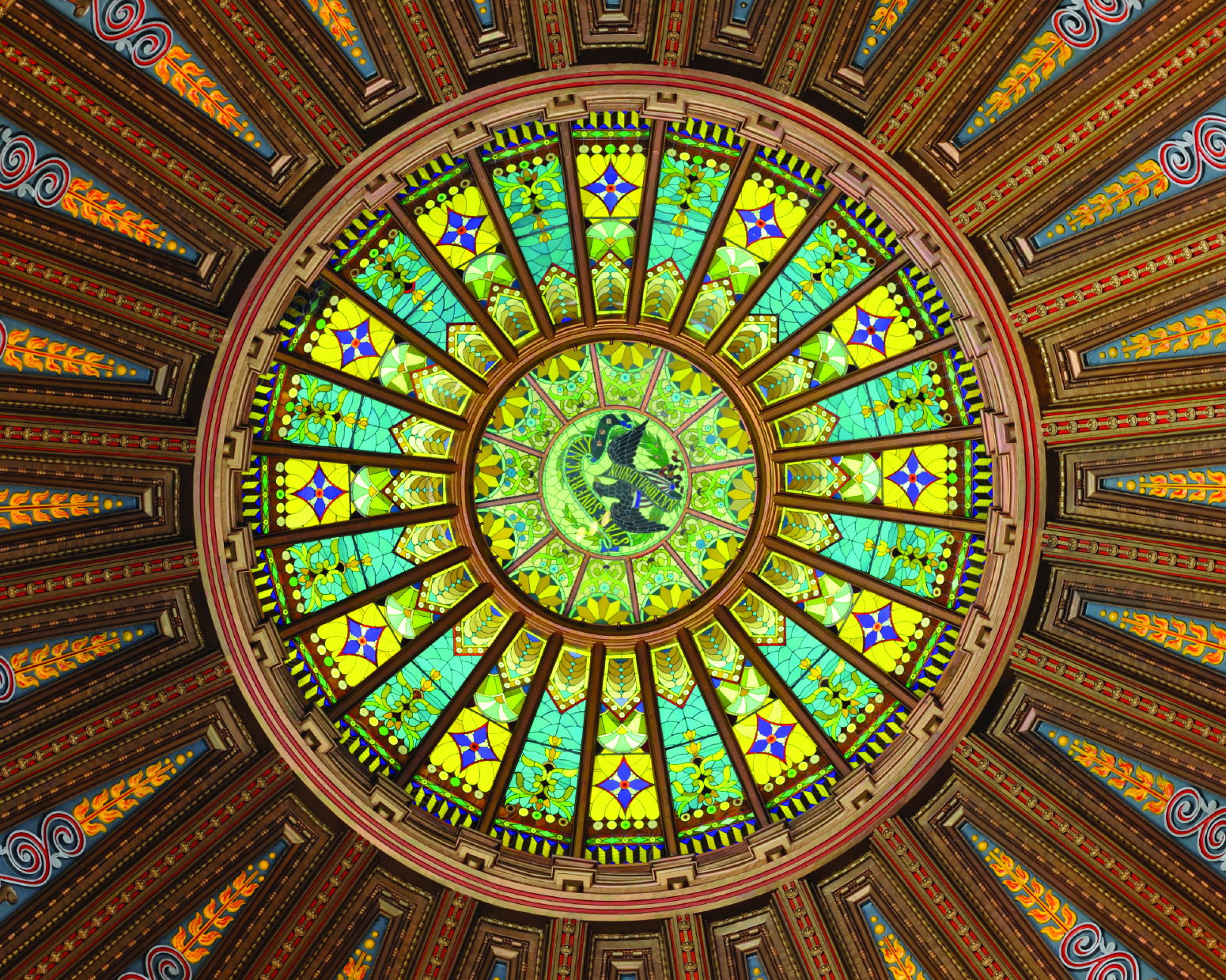 The stained glass ceiling of the Illinois State Capitol dome.