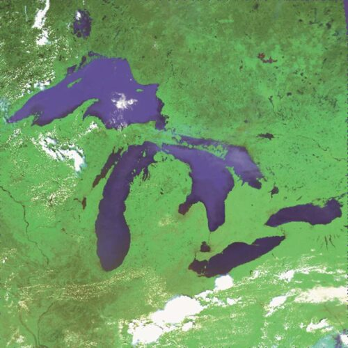 Satellite view of Great Lakes