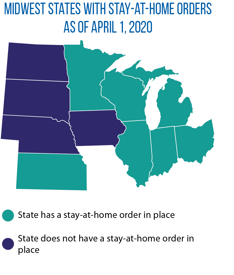 Map of stay-at-home orders in Midwestern states